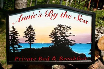 Bed n Breakfast Carved Sign in Kodiak Island Alaska, see more at www.nicecarvings.com